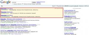 Wyniki Google dla zapytania - pożyczka